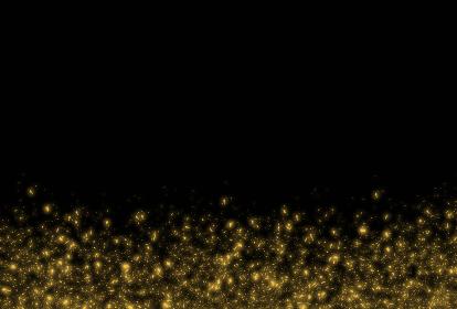 金色のダストが輝く黒い背景のフレームイラスト