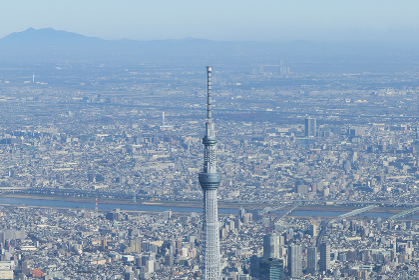 東京スカイツリーの空撮写真