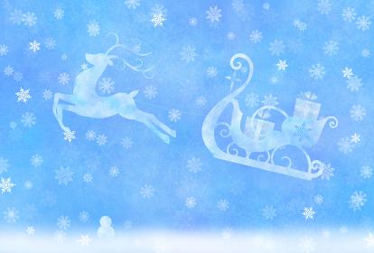雪の降る中を走る、トナカイとプレゼントを乗せたソリ。パステル風ポストカード