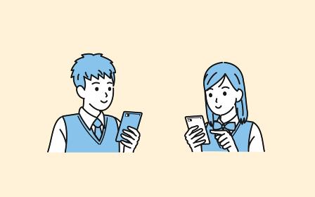 スマートフォンを使う学生 操作 携帯電話 中高生 高校生 中学生 男女 イラスト素材