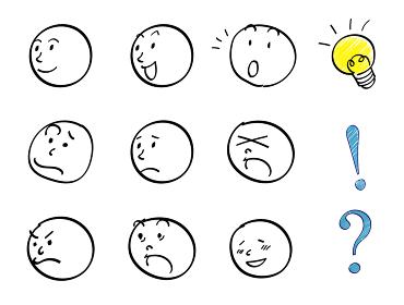 顔の表情セット 漫画手描き風