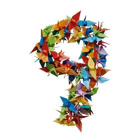 白バックに折り紙の鶴で作った数字の9