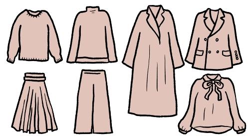 ピンクベージュのカジュアルウェアのイラスト素材セット