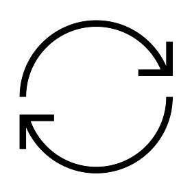 シャープな細い線のアイコン/リサイクル・循環・リロード (ウェブデザイン用)