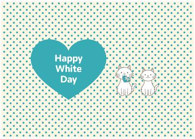 長毛種猫2匹とホワイトデーのイラスト