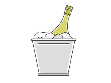 ワインクーラーで冷やすワインのイラスト