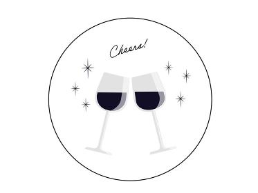 ワイングラスで乾杯 ワイングラスを合わせる モノトーン シルエット コースター型