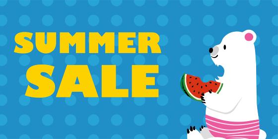 サマーセール 夏の販売促進バナーテンプレート スイカを食べるホッキョクグマのイラスト