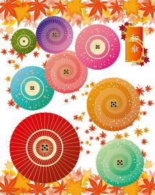 紅葉:もみじ 和傘 傘 カラフル 落ち葉 フレーム 枠 和風 和柄 和 飾り枠 日本 秋