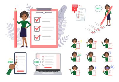 チェックマークをつける黒人ビジネス女性のセット