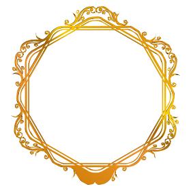 グラフィック素材:ゴールドメタリック アールヌーヴォー 飾り罫 飾り囲み フレーム バックグラウンド