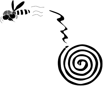 蚊取り線香に怯える蚊のシルエット