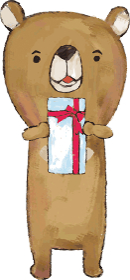 プレゼントを持つ熊