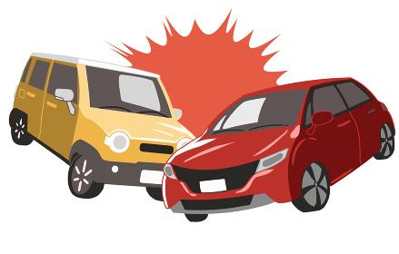 衝突する軽自動車と普通自動車(線無し)