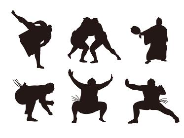 相撲 力士のシルエットイラスト