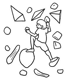 ボルダリングをする女性の線画イラスト