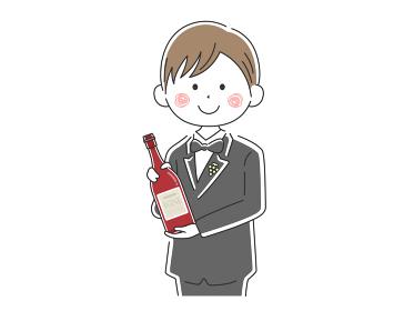 ワインを紹介する男性ソムリエのイラスト