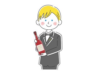 ワインを紹介する白人男性ソムリエのイラスト