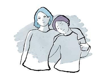 水彩人物イラスト)悲しい表情のレズビアンカップル 差別 同性愛者 女性 フェミニズム シスターフッド