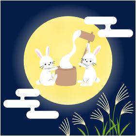 十五夜_月で餅つきするうさぎ