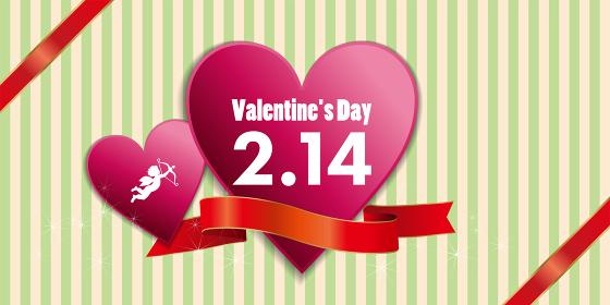 ハートにリボンと天使キューピッドイラスト_バレンタイン販売促進用バナーポスターポップテンプレート