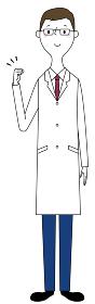 ガッツポーズをする白衣の男性