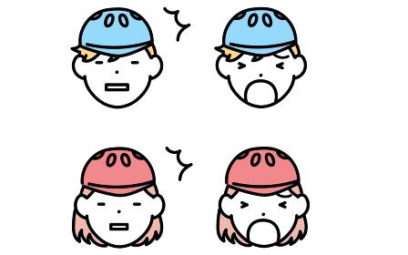 スケートボーダー、男の子と女の子の表情アイコン、白けた顔と泣き顔