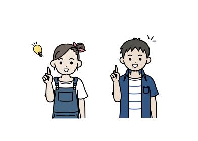 閃く男の子と女の子のイラスト アイデア 思いつく 子供 小学生 低学年