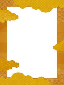 和風/中国風 金色の雲の背景素材(縦向き)
