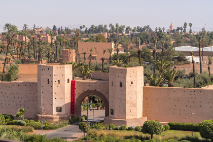 The historic orange gates of Marrakech city