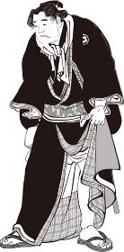浮世絵 相撲取り その11 白黒