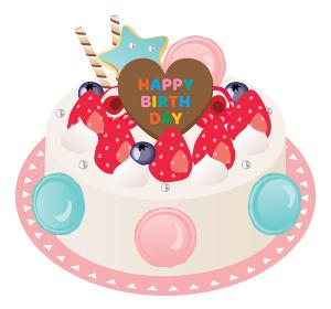 苺と生クリームとマカロンのお誕生日ケーキ