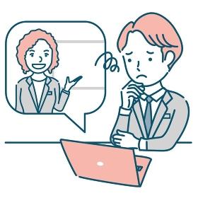 外国人女性講師からオンラインで説明を受けて困る男性のイラスト素材