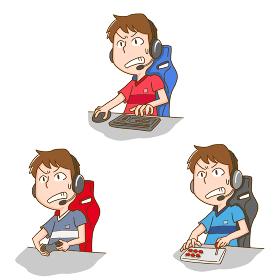 eスポーツをする男性のイラストセット