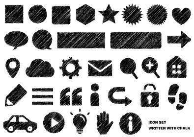 チョークで描いたような図形/アイコンセット