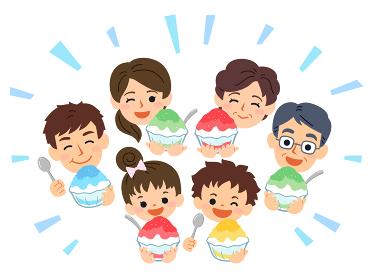 家族団らん 夏 かき氷を食べる