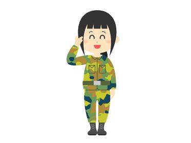 自衛官の女性のイラスト