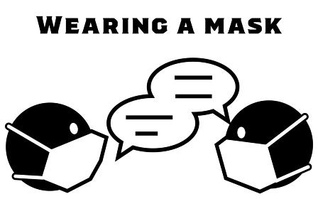 会話時にマスク着用するアイコンイラスト