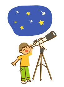 望遠鏡で星を見る男の子