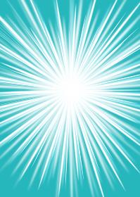 光のイメージの背景用イラスト:光の放射線、集中線 ピーコックブルー