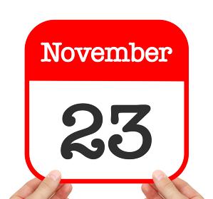 November 23 written on a calendar