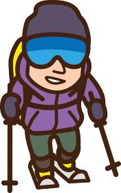 世界イラストマップ 登山スキー