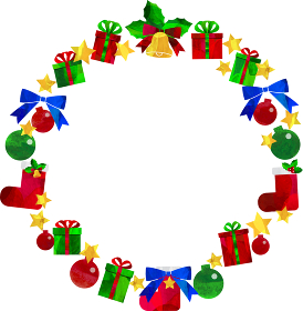 イラスト_クリスマスリース_星_クリスマスプレゼント_クリスマスブーツ_セット_切り絵風