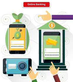 Online banking flat style design. Pay and transaction, internet finance, digital bank, security and protection, connection shopping, money and mobile, safety web illustration