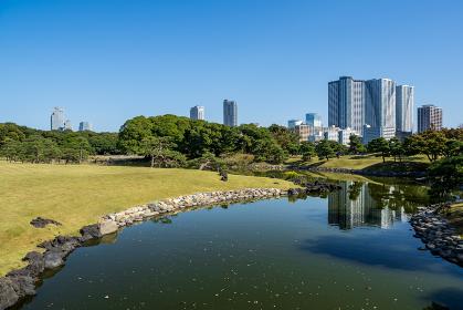 秋晴れの青空広がる東京の浜離宮庭園の風景 10月