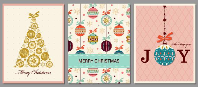 クリスマスオーナメントをモチーフとしたグリーティングカードセット
