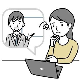 男性講師からオンラインで説明を受けて困る女性のイラスト素材
