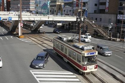 長崎駅前交差点の路面電車