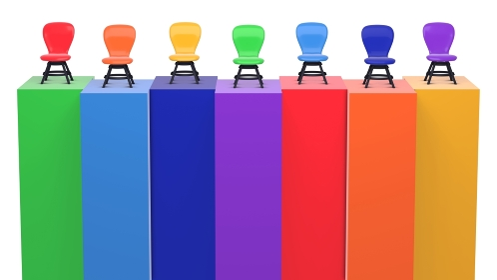 壁の上に椅子が並んでいる 虹色 3DCGインテリア ポスター カラフル