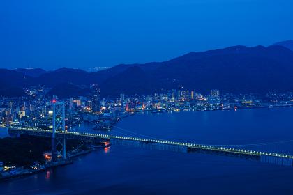 火の山公園展望台から望む関門海峡の夜景